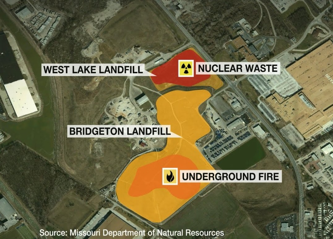 Diagram of West Lake and Bridgeton Landfills
