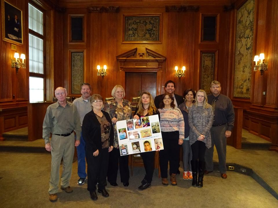 1-26-2016 Senate Lounge; SB600: West Lake Landfill/Bridgeton Landfill & Coldwater Creek — with Larry Douglas, Michael Dailey, Terra Johnson- Douglas, Susan Lorel, Meagan Burt Beckermann, CA Glis and Ed Smith at Jefferson City, MO - State Capital Building.